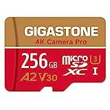Gigastone 4K Kamera Pro Micro SD Karte 256 GB und SD-Adapter, Kompatibel mit GoPro Drohne und Switch, bis zu 100/60 MB/s, 4K UHD Videoaufnahmen, MicroSDXC Speicherkarte UHS-I A2 Klasse 10 U3 V30