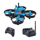 FancyWhoop Rüstung Blue Shark Micro FPV Racing Drohne mit 5.8G 40CH 1000TVL Kamera VR006 FPV Brille 800 * 600 3 Zoll Headset RTF FPV Quadcopter