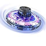 FLYNOVA Fliegendes Spielzeug, Mini-Drohne Flug Spielzeug UFO Drohne Hubschrauber Fliegender Spinner für Kinder Erwachsene, Mini Flugzeug mit 360° Drehbaren LED-Leuchten für Indoor Outdoor(Blue)