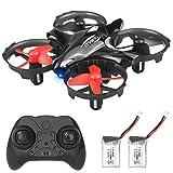 U`King Mini Drohne Helikopter für Kinder und Anfänger, RC Drone Quadrocopter mit Hinderniserkennung, Kopflos-Modus, EIN-Tasten-Rückkehr, Best 3D-Flip-Spielzeug Drone mit 2 Akkus, Schwarz